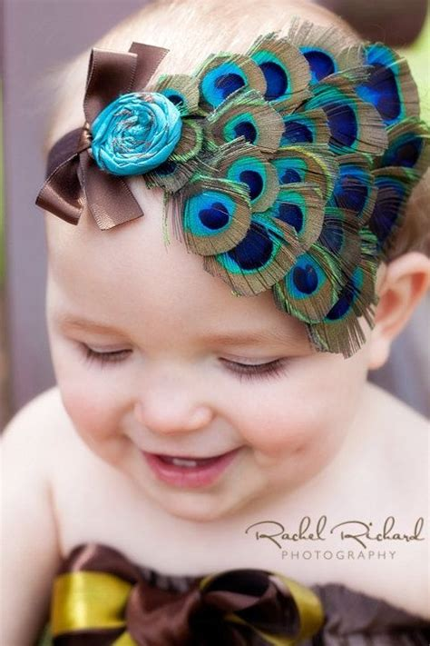Headband Baby Feather baby headband peacock feather silk flower and bow or