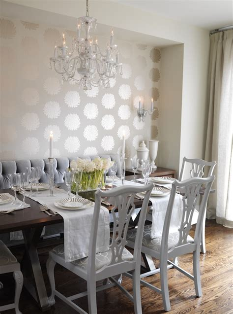 gold wallpaper dining room white chippendale chairs contemporary dining room