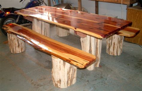 red cedar picnic table  separate benches