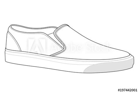 slip  shoes fashion flat technical drawing template
