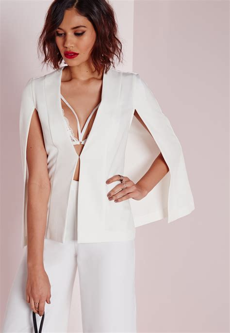 Cape Blazer missguided structured cape blazer white in white lyst