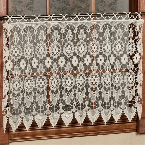 Hemp Curtain Panels From Doc by Medallion Macrame Lace Tier Window Treatment