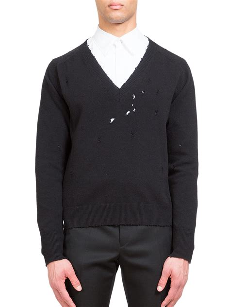 Givenchy Sweater lyst givenchy v neck wool sweater in black for