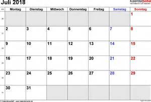 Kalendar Juli 2018 Kalender Juli 2018 Als Excel Vorlagen