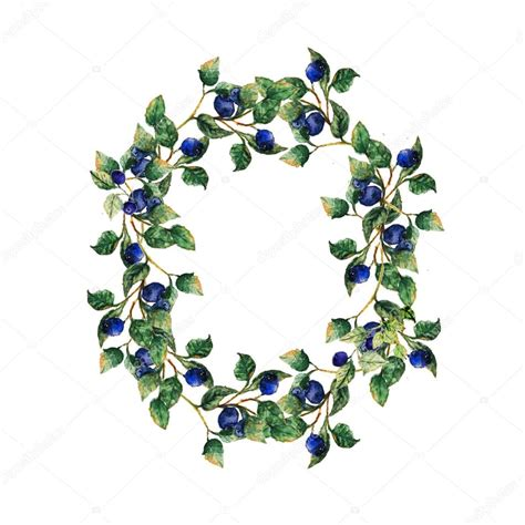 pattern writing blueberry publication hand drawn blueberry wreath with leaves and berries