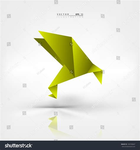 origami bird in green background green origami paper bird on abstract stock vector