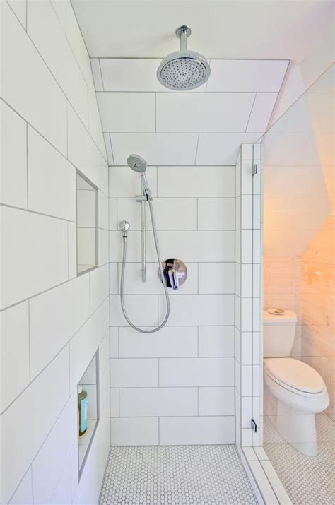white shower large white subway shower tile in modern farmhouse