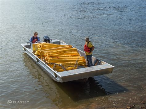 deck boat stability aluminum utility boat work barge elastec inlander
