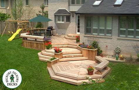 Two Level Backyard by Multi Level Backyard Deck Planters And Benches Boxboro