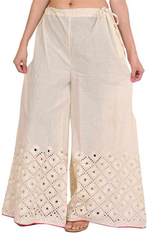 plazo pant cutting ivory plain palazzo pants with cut work embroidery on border