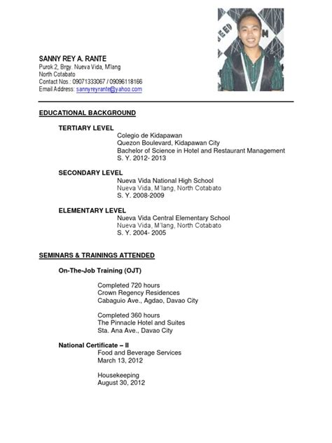Resume Sample Hrm by Bshrm Graduate Resume