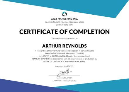 Free Course Completion Certificate Template In Adobe Adobe Indesign Certificate Template