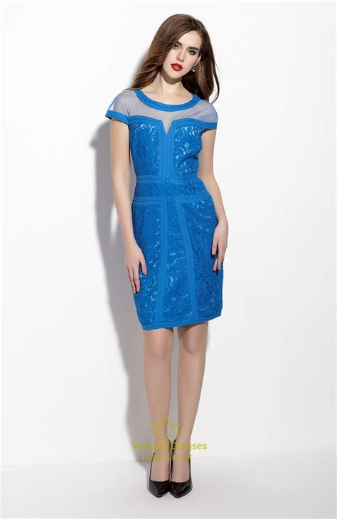 Sleeve Sheath Cocktail Dress blue sleeve sheath cocktail dress with lace applique