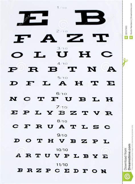 tabella lettere oculista ottotipo fotografie stock immagine 28157963