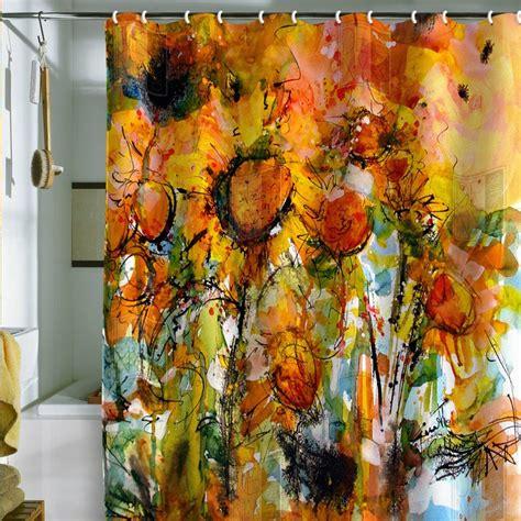 fine art shower curtain ginette fine art abstract sunflowers shower curtain
