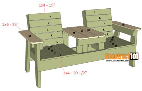 seating bench plans double chair bench plans step by step plans construct101