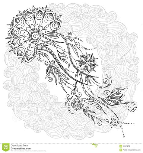jellyfish coloring page for adults pattern for coloring book jellyfish in vector stock
