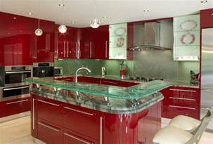 Blue Tile Backsplash Kitchen modern kitchen countertops from unusual materials 30 ideas