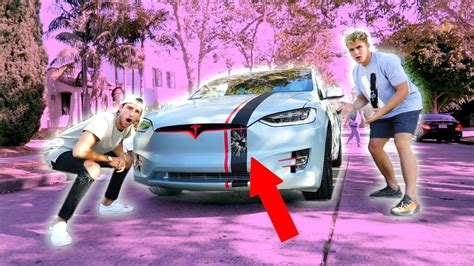 tesla jake paul inside i crashed jake paul s tesla prank youtube