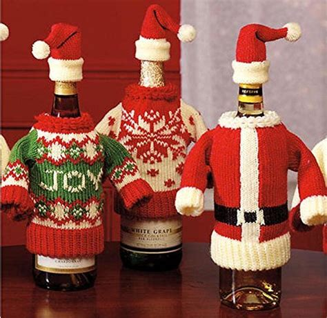 aytai 3pcs ugly christmas sweater wine bottle cover handmade wine bottle sweater for christmas decorations ugly christmas sweat wine bottle covers winter knit sweaters set of two bar tools and glasses