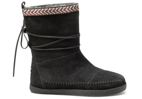 toms boots toms black suede trim s nepal boots in black lyst
