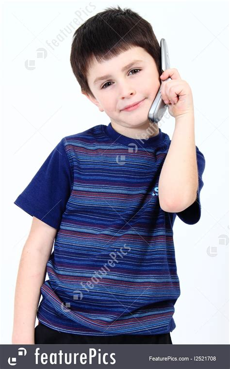 children small boy calling  mobile phone stock