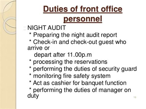 front desk security officer responsibilities introduction to front office