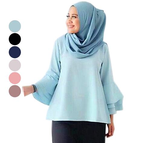 Baju Muslim Tunik Blouse Rannalia Rna 10 Toska model blouse terbaru leopard trim blouse