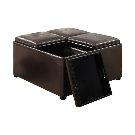 Small Square Ottoman Coffee Table With Black Leather Top Black Storage Ottoman Coffee Table