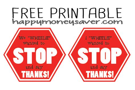 driver thank you card template quot stop and say thanks quot driver gift idea free printable