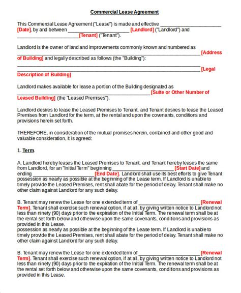 lease agreement contract lease contract form 8 free word pdf documents