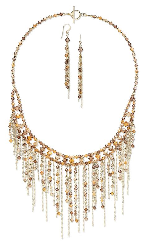 bead and chain necklace designs jewelry design bib style necklace and earring set with