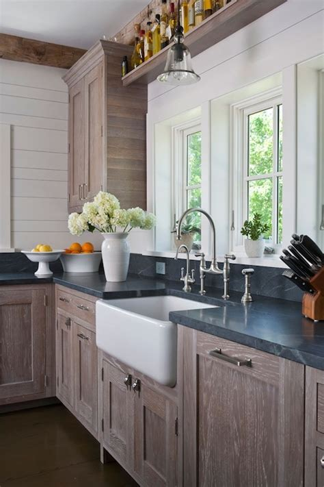 wire brushed oak cabinets country kitchen shelter interiors llc
