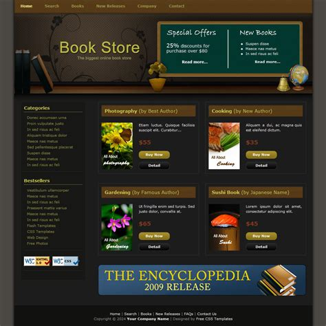 free templates for books websites template 086 book store