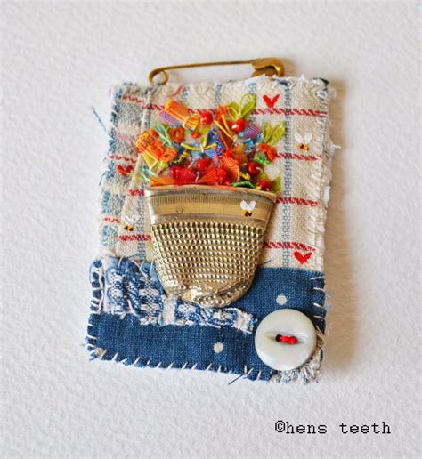Crocheted Bird Necklace By Crowded Teeth by Brooch Flattened Thimble As The Pot Sweet Stitching