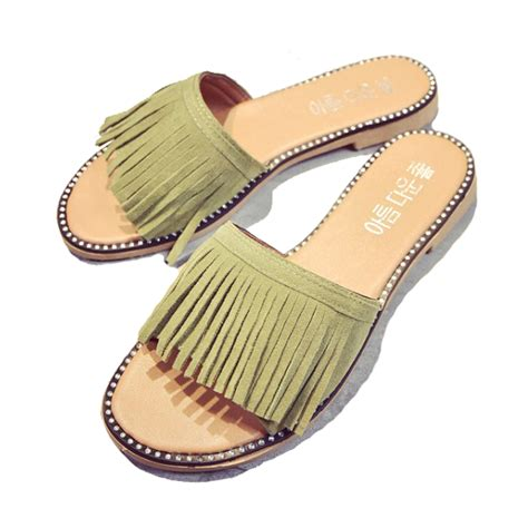 Flat Shoes Sandal Selop Pita 1 tassel sandals slippers summer 2017 fringe sandal flats slides shoes chaussure de