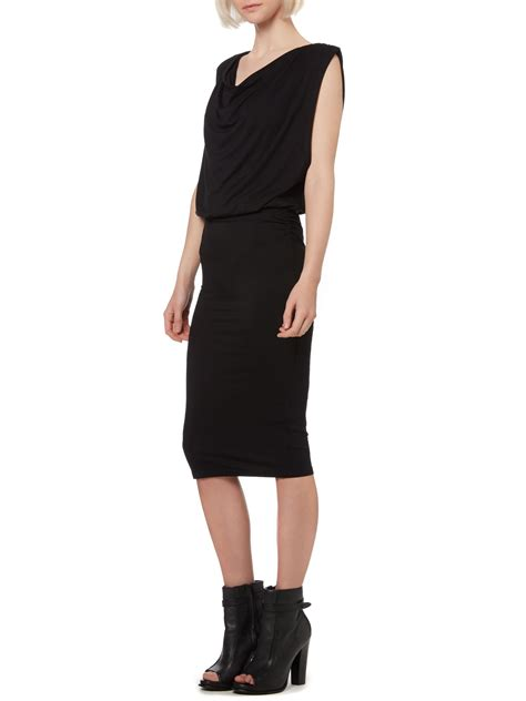design lab black dress label lab ruched bodycon midi dress in black lyst