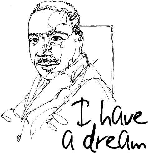 Martin Luther King Jr Line Drawing Mlk Jr Coloring Pages