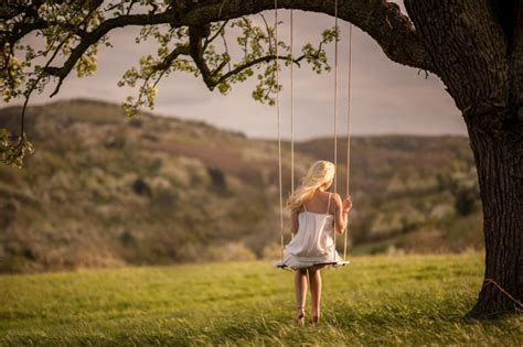 the girl in the swing girl on tree swing wallpaper for android iphone and ipad