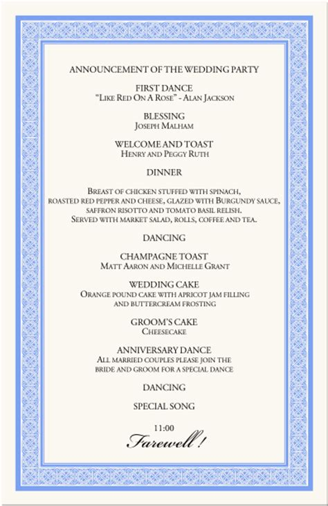 reception templates wedding reception agenda template 4 best agenda templates