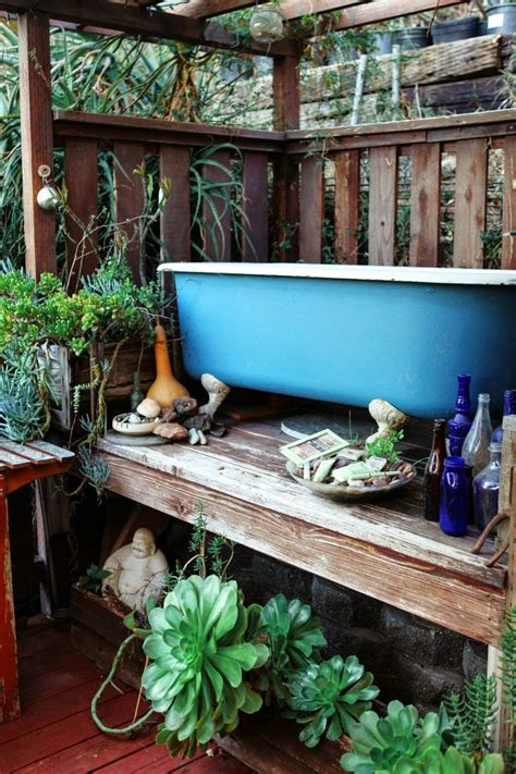Outdoor Bathtub by Moon To Moon Bohemian Summer Bathroom Inspiration