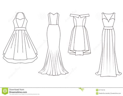 set of fashion flat templates sketches woman dresses