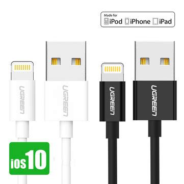 Ugreen Usb 2 0 Sync Charging Cable Lightning 25cm Us155 Hitam ugreen mfi certified 0 5m lightning to usb cable data syncing charging cord for iphone sale