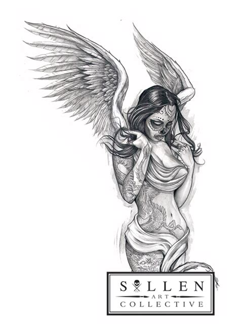 sullen clothing fallen angel sticker tattoo clothing art