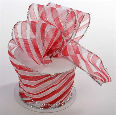 wired ribbon crafts striped with silver sheer organza wired ribbon ribbons and trims supplies