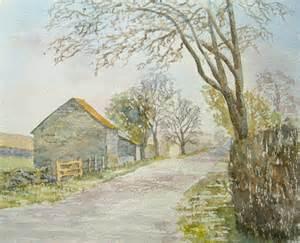 Watercolour Landscape Artists Uk Watercolour Painting Road To Gilsland Cumbria