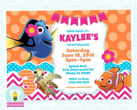 Finding Dory Birthday Invitation Finding Dory Party Printables Pin Luvibeekidsco Finding Dory Birthday Invitations Template
