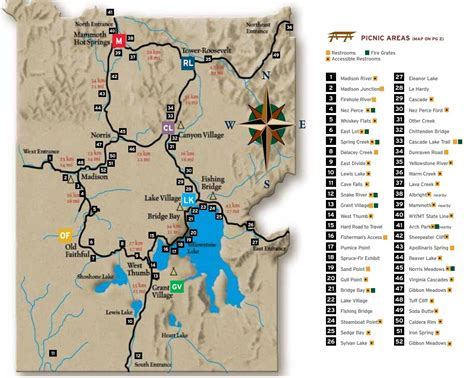 map of yellowstone the best picnic spots in yellowstone national park