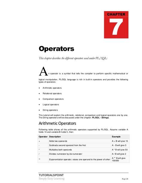 tutorialspoint pl sql plsql tutorial
