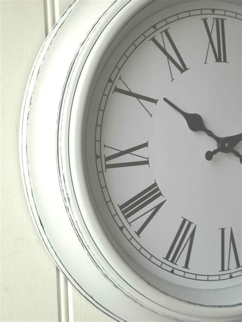 white shabby chic wall clock shabby chic large white wall clock amazing grace interiors